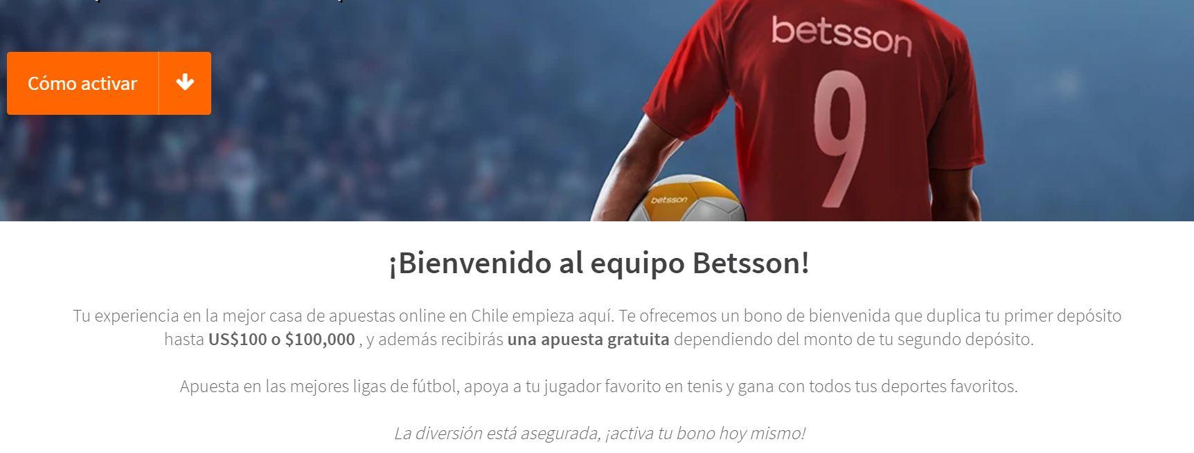 bono de bienvenida Betsson Chile
