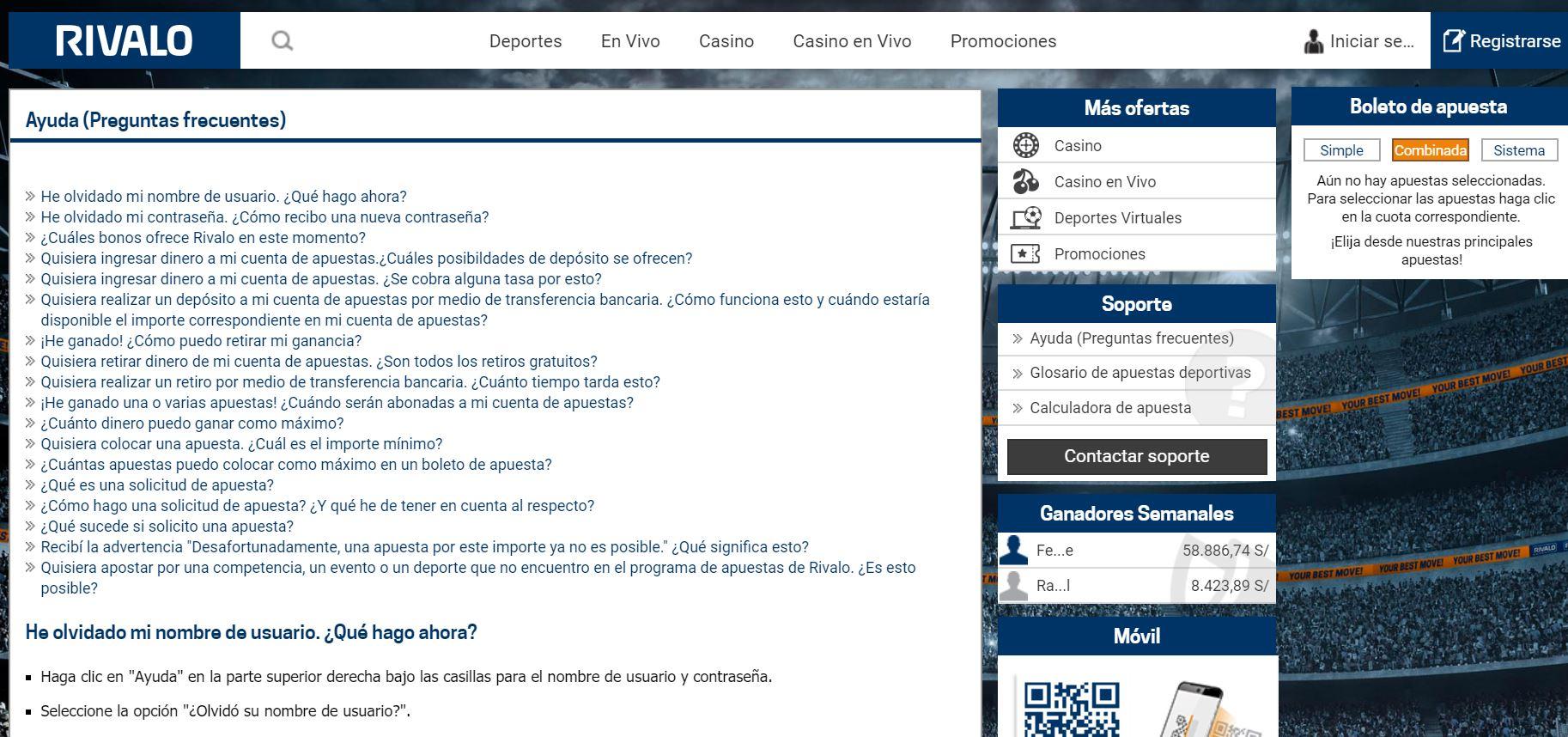 Preguntas Frecuentes Rivalo Chile